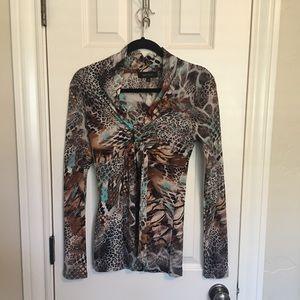 Karen Kane Leopard Print Top with Front Tie